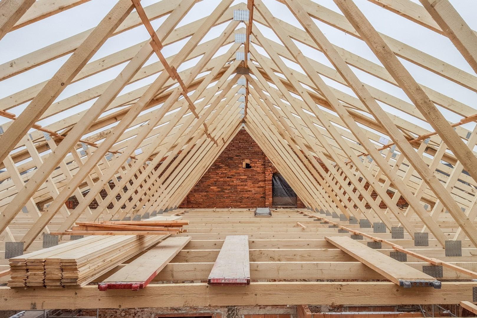 HO Dachstuhl aus Nagelplattenbinder